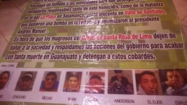 El CJNG exhibe en una manta fotos de sus rivales de Santa